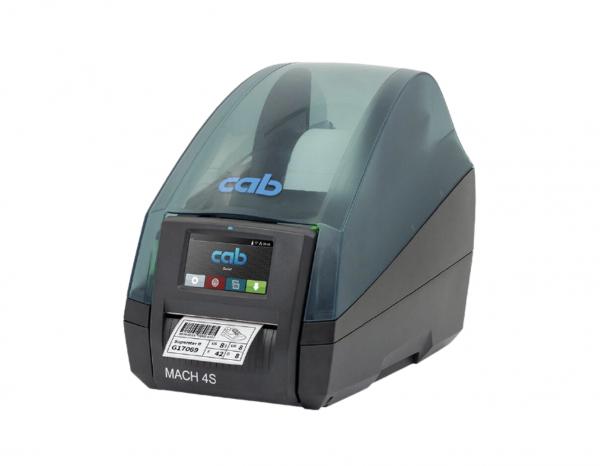 Esta é a Impressora CAB Mach 4. É uma das impressoras de etiquetas térmicas e não térmicas, que servem como impressoras de códigos de barras e outras informações em etiquetas.